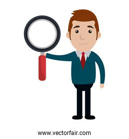 businessman character with magnifying glass icon