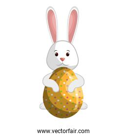 cute rabbit easter character with egg