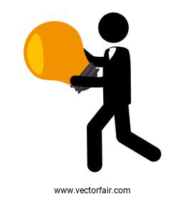 businessman silhouette with bulb