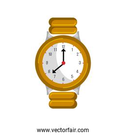 golden wristlet watch isolated icon