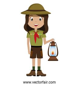 little scout character with lantern icon