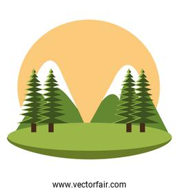 camping landscape mountains icon