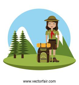 little scout character with travel bag icon
