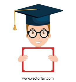 student character with hat graduation and diploma