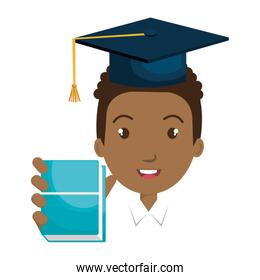 afro student character with hat graduation and book