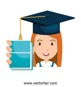 student character with hat graduation and book