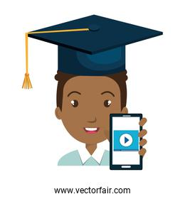 student character with hat graduation and smartphone