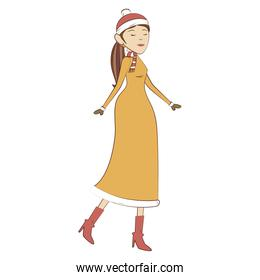 woman character with winter clothes