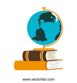 book school with planet earth isolated icon