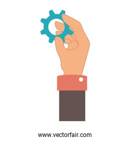 hand human with gear setting isolated icon