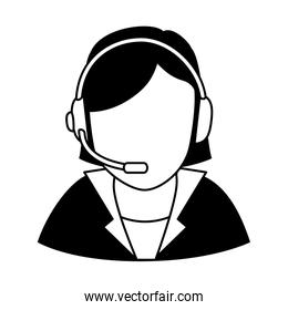 businesswoman character with headset icon