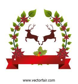 happy merry christmas reindeer card