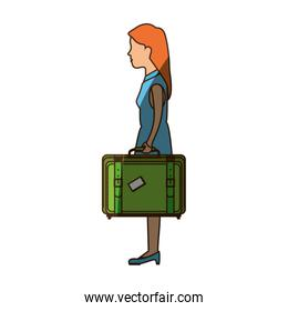 person with travel suitcase