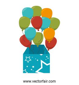 surprice box with balloons party