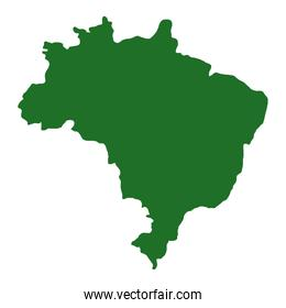 brazil map icon isolated