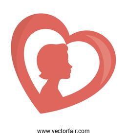 heart with woman silhouette