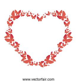 heart floral frame icon