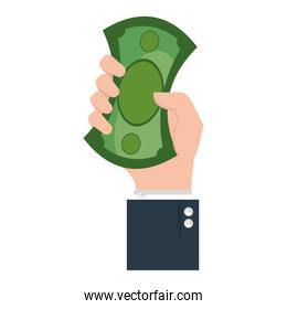 hand human with bills money isolated icon