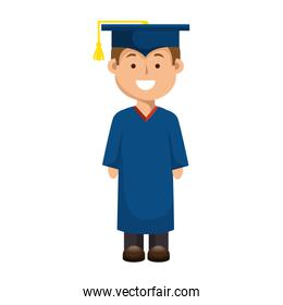 student man graduated isolated icon