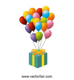 balloon air party with giftbox icon