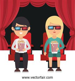 people eating pop corn and watching a movie 3d