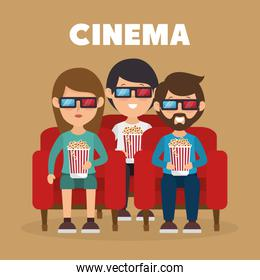 cinema people eating pop corn and watching a movie 3d