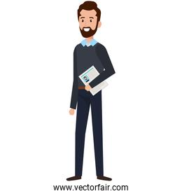 businessman with curriculum avatar character