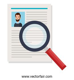 curriculum vitae document with magnifying glass