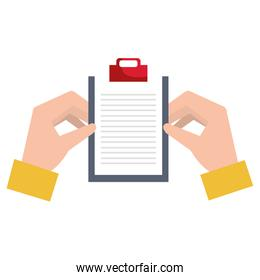 hands with clipboard checklist isolated icon