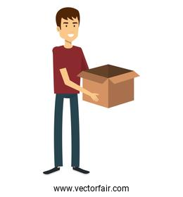 young man with box character