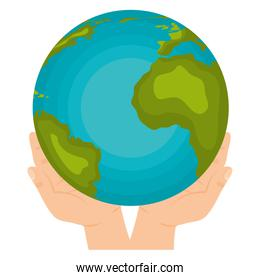 hands with earth planet icon