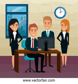 elegant business people in the office scene