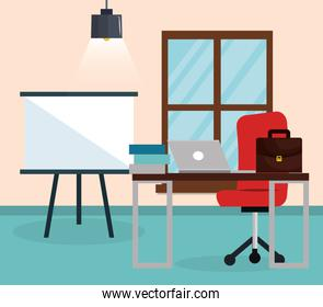 office workplace scene icon