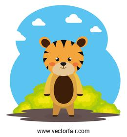 cute tiger in the field character