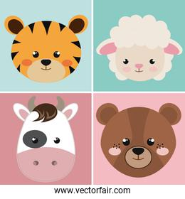 cute group head animals characters