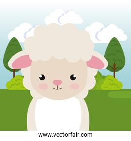 cute sheep in the field landscape character