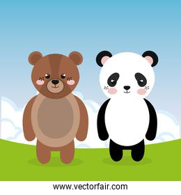cute panda bear and teddy in the field landscape characters