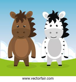 cute horse and zebra in the field landscape characters
