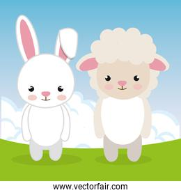 cute rabbit and sheep in the field landscape characters