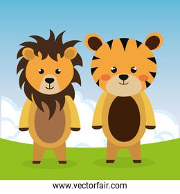 cute tiger and lion in the field characters