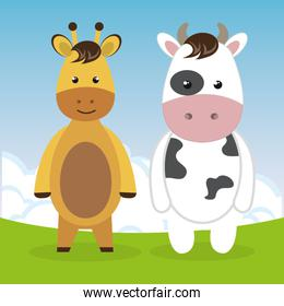 cute giraffe and cow in the field landscape characters
