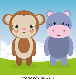 cute monkey and hippo in the field landscape characters