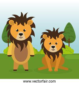 cute lions couple in the field landscape characters