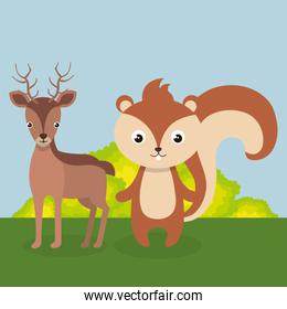 cute reindeer and chipmunk in the field landscape character