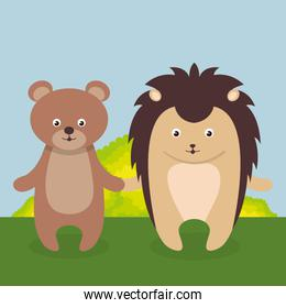 cute bear and purcopine in the field landscape character