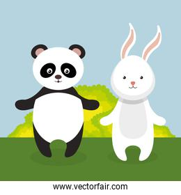 cute rabbit and panda in the field landscape character