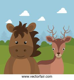 cute reindeer and horse in the field landscape character