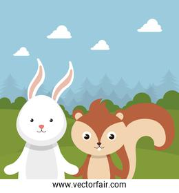 cute rabbit and chipmunk in the field landscape character