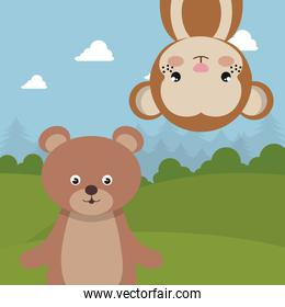 cute monkey and bear in the field landscape characters