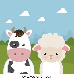 cute sheep and cow in the field landscape characters